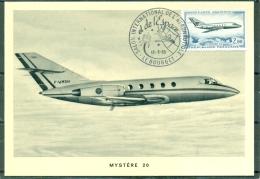 "CM-Carte Maximum Card # 1965-France #  Transports # Aviation# Jet Plane ,Düsenflugzeug ,avion"" Mystere 20 "" # Le Bourget - Cartes-Maximum"