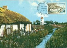 CM-Carte Maximum Card # 1965-France # Sites & Monuments  #  Paysage Vendéen # Moulin à Vent,windmil # St-Jean-de-Mon - Maximum Cards