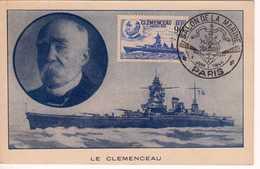 Carte Maximum Avec N°425 Clémenceau Oblitérée Salon De La Marine Paris 1944 - 1930-39