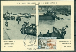 CM- Carte Maximum Card # 1964-France#Histoire #Guerre,war # Libération,Débarquement En Normandie-Provence  # Obl. BAYEUX - Maximum Cards