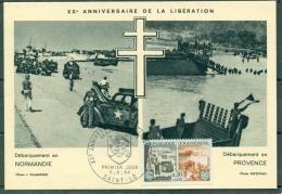 CM- Carte Maximum Card # 1964-France#Histoire #Guerre,Krieg,war # Libération,Débarquement En Normandie  # Obl. Saint-Lo - Maximum Cards