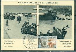CM- Carte Maximum Card # 1964-France#Histoire #Guerre,Krieg,war # Libération,Débarquement En Normandie  # Obl. CAEN - Maximum Cards
