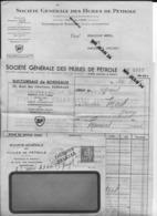 23 Creuse 33 BORDEAUX Sté Gale Des Huiles De Petrole British Petroleum Bordereau + Facture A MOREL à MAINSAT 24 03 1936 - France