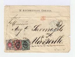 Sur Enveloppe Tois Timbres Empire Russe Armoiries 3 K. Noir Et Vert. 2 K Noir Et Rose. 8 K.  CAD Odessa 1875. (777) - 1857-1916 Empire