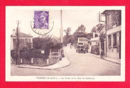 F-91-Yerres-02Ph104  La Poste Et La Rue De Bellevue, Vieille Voiture, Cpa BE - Yerres