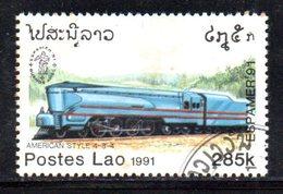 T2341 - LAOS LAO 1991 , Michel 1273 Usato . Locomotiva American Style  484 - Laos