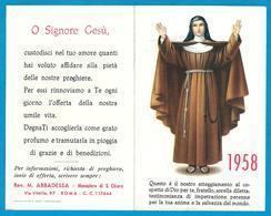 CALENDARIETTO RELIGIOSO: ANNO 1958 - MONASTERO DI S. CHIARA - ROMA - Mm. 70 X 110 - Religion & Esotérisme