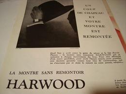 ANCIENNE PUBLICITE MONTRE HARWOOD SANS REMONTOIR 1930 - Bijoux & Horlogerie