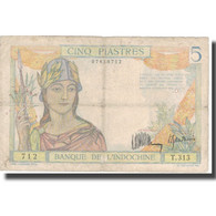 Billet, FRENCH INDO-CHINA, 5 Piastres, Undated (1932-39), KM:55a, TB - Indochine