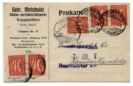Firmen - Ganzsache Mühlen- U. Elektrizitätswerke Kraupischken, Kr. Ragnit / Ostpreussen 1922 - Nach Hannover - Deutschland
