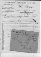 23 Creuse 03 Montluçon E BIJOUX Quincaillerie Facture à Mr MOREL Mecanicien à MAINSAT  25 Fev 1936 - France