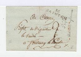 Sur Enveloppe Du Préfet Charente Inférieure Marque Postale 16 Santes. Oblitération Manuelle. (779) - Marcophilie (Lettres)