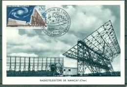 CM-Carte Maximum Card # 1963-France # Espace # Space # Radiotelescope Nancay # Obl. Illustr. Le Bourget - Maximum Cards