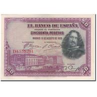 Billet, Espagne, 50 Pesetas, 1928-08-15, KM:75b, SUP - 50 Pesetas
