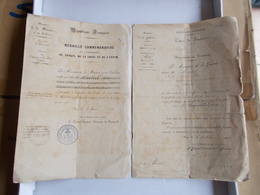 DOCUMENT DIPLOME MEDAILLE EXPEDITION TONKIN ANNAM CHINE1886 MINISTERE GUERRE MARINE COLONIES  Lettre Promotion REIMS - Documenti