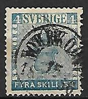 SUEDE   -  1855 .   Y&T N° 2 Oblitéré. - Zweden