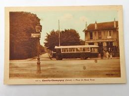 C.P.A. : 94 COEUILLY CHAMPIGNY : Place Du Rond Point, Café Restaurant Hôtel, Bus - Champigny Sur Marne