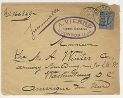 (Z07) - Y&T 132 SEMEUSE LIGNEE - LETTRE GOURDON LOT => USA 1906 - TARIF 1-15 GRS DU 01/07/1892 - France