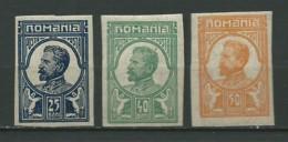 ROUMANIE: *, ESSAIS, 3 Valeurs Ferdinand 1er, TB - Prove E Ristampe