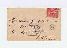 Sur Enveloppe Type Semeuse Lignée 10  C. Rose. CAD Montoison 1907. Cachet OR Origine Rurale. (786) - Marcophilie (Lettres)