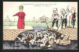 Künstler-AK T. Bianco: La Separation: Effondrement Du Concordat, Papst Pius X. - Popes