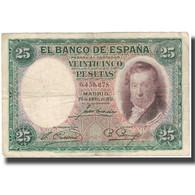 Billet, Espagne, 25 Pesetas, 1931, 1931-04-25, KM:81, TB+ - [ 2] 1931-1936 : Repubblica
