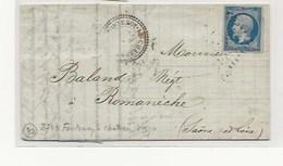 Lettre De FONTENOY LE CHATEAU VOSGES - 1849-1876: Période Classique