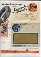 23 CREUSE 63 CLERMONT PNEUS MICHELIN Belle Pub Pneu STOP 1935  Pour Camille MOREL  A  MAINSAT Enveloppe Double Face - Automobile