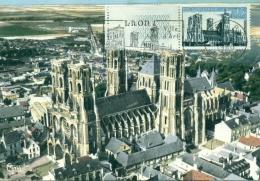 CM-Carte  Maximum Card # France-1960 #Sites & Monuments #  Architecture # Cathédrale De Laon # Oblitéré  Flamme  Lao - Cartas Máxima