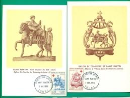 CM-Carte  Maximum Card # France-1960 #Sculptures # Croix-Rouge #Red Cross # RotKreuz #Saint Martin #Tours (2CM) - Maximumkaarten