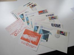 10 Sonderbelege 1975 UDSSR Raumflug Sowjets Und USA Sojus Apollo Mit 2 ASTP Vignetten. Raumfahrt / Weltraum - Briefe U. Dokumente