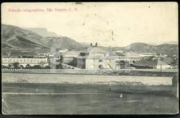 1908 POSTCARD TELEGRAPH STATION SAO VICENTE CABO CAPE VERDE AFRICA AFRIQUE CARTE POSTALE STAMPED TIMBRE - Cape Verde