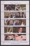 2391  Aitutaki Cook Isl  Royal  Engagement Prince William & Kate Middleton  16 Th November 2010   10 Stamp Sheet - Royalties, Royals