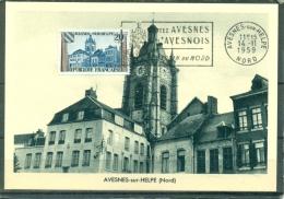 CM-Carte Maximum Card # France-1959  # Architecture # Beffroi ,Collégiale Saint-Nicolas # Obl. Flamme Avesnes-sur-Helpe - 1950-59