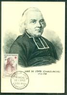 CM-Carte Maximum Card # France-1959#Célébrités #Croix Rouge-Red Cross # Abbé Michel De L´Épée (Sourds-Muets), Vers - Cartoline Maximum