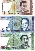 KYRGYZSTAN 1 5 10 COM (SOM) 1997-2000 P.13-15 UNC SET - Kirghizistan