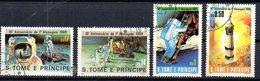 4 - St Thomas Et Prince 1980, Espace, 1er Pas De L'homme Sur La Lune Yvert 594o à 597o - Space