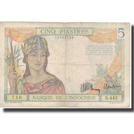 Billet, FRENCH INDO-CHINA, 5 Piastres, Undated (1936), KM:55a, TTB - Indochine
