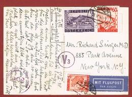 Luftpost Postkarte Ab Wien Nach U S A  1948 Porto 1.65  Sch.   ; - 1945-60 Briefe U. Dokumente