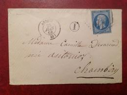 1866 Annecy Pour Chambery Cachet De Facteur I GC 110 - Marcophilie (Lettres)