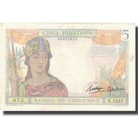 Billet, FRENCH INDO-CHINA, 5 Piastres, Undated (1936), KM:55b, TTB+ - Indochine