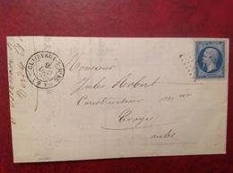 Clairvaux Sur Aube Pour Troyes 1862 Via Bale à Paris, Verdy Royer - Marcophilie (Lettres)