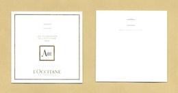 Nouvelle Carte Parfumée Parfume Card AMBRE * L'OCCITANE * 6 X 6 Cm * R/V - Perfume Cards