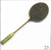 Pin's Sport - Badminton / Raquette - Version Manche Vert. Estampillé Boussemart. Zamac. T624-23 - Badminton