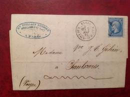 Paris Pour Chaulxures Via Strasbourg 1865 Poullain  Beurier Cuir à - Marcophilie (Lettres)