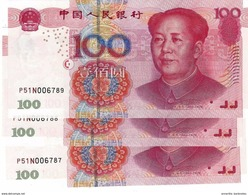 CHINA 100 YUAN 2005 P-907b UNC PREFIX FORMAT X##X 3 PCS [CN4114c] - China