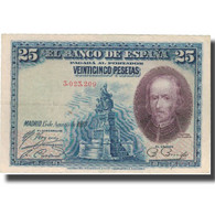 Billet, Espagne, 25 Pesetas, 1928, 1928-08-15, KM:74a, TTB+ - [ 1] …-1931 : Eerste Biljeten (Banco De España)