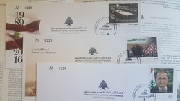 Lebanon 2018 Set 3v. President Aoun, The Return Of The Flag, People's House Palace - DELUXE FOLDER + FDC - 2nd Issue - Lebanon