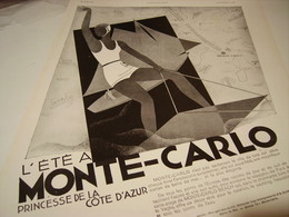 ANCIENNE PUBLICITE PRINCESSE DE LA COTE D AZUR MONTE-CARLO 1930 - Advertising