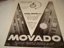 ANCIENNE PUBLICITE MONTRE ERMETO DE MOVADO   1930 - Autres